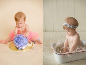 smashing cake and splashing