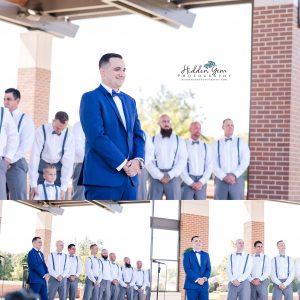 Groom seeing his bride down the aisle