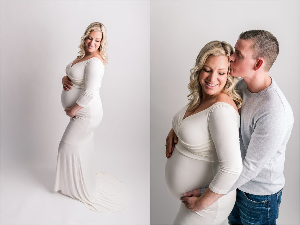 Decatur, Il Studio Maternity Photographer with husband kissing wife