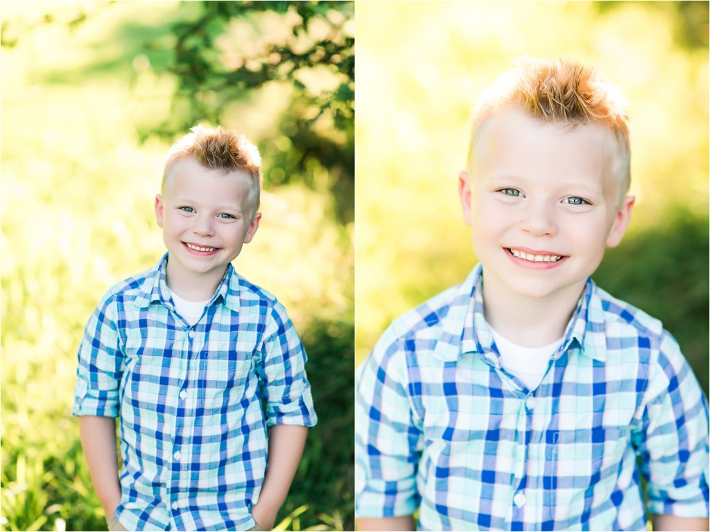 Five year old boy smiling for camera in Taylorville, Il