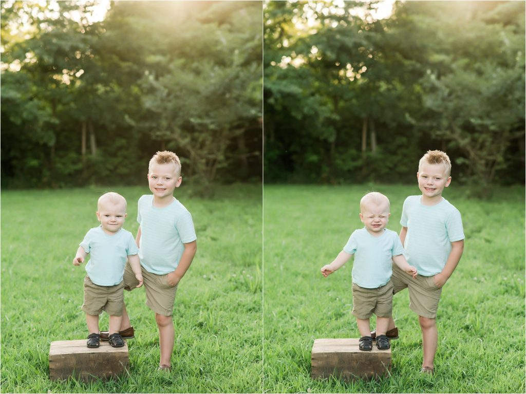 Brothers playing with a box in Taylorville, Il