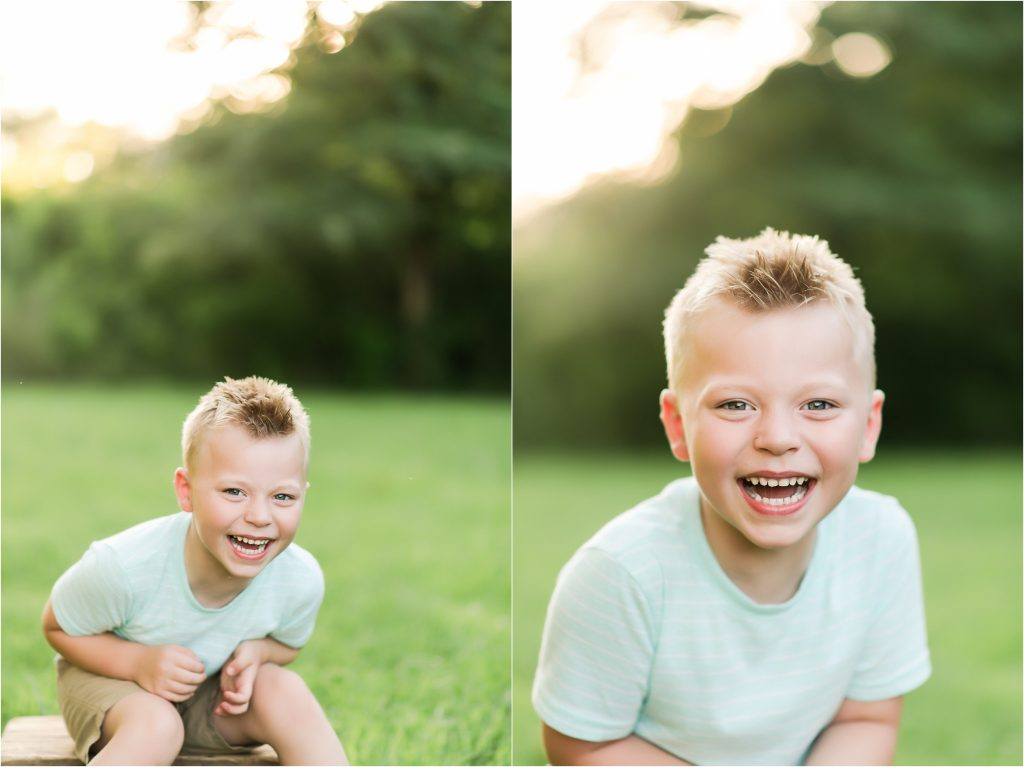 Boy laughing at the camera in Taylorville, Il